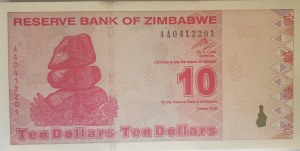 Zimbabwe, 10 Dollars, 2009, UNC, p94, BUNDLE