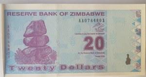 Zimbabwe, 20 Dollars, 2009, UNC, p95, BUNDLE