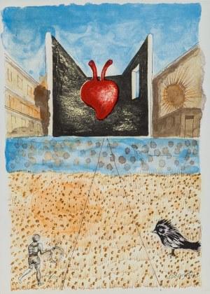 Jan Lebenstein, Kompozycja z sercem - Ilustracja do poezji Eugenio Montale: