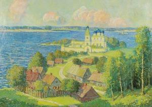 Eugeniusz DOŁGANOW (1888-1955), Krajobraz z cerkwią