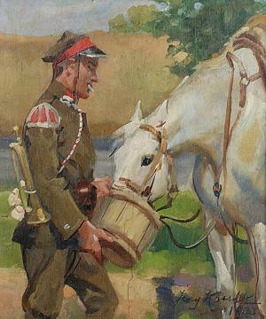 Jerzy KOSSAK (1886-1955), Ułan pojący konia, 1933
