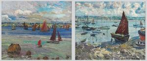 Leon KAUFMANN KAMIR (1872-1933), Regaty w Treboul (Finiste`re) - para obrazów, 1909