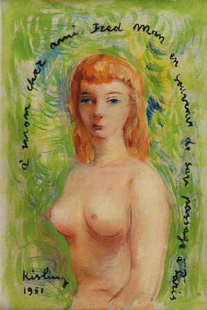 Mojżesz KISLING (1891-1953), Akt kobiecy w popiersiu,1951