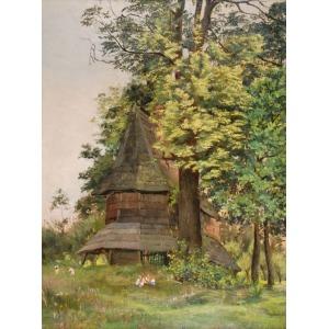 Malarz nieokreślony (XIX/XX w.), Przed wiejskim kościołem