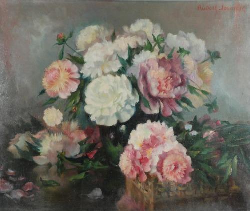 Rudolf JELINEK (1880-1944), Piwonie w koszu