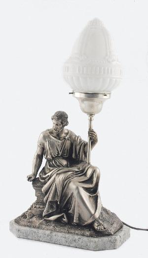 Pierre AUBERT (1853-1912), Lampa elektryczna z figurą antycznego filozofa