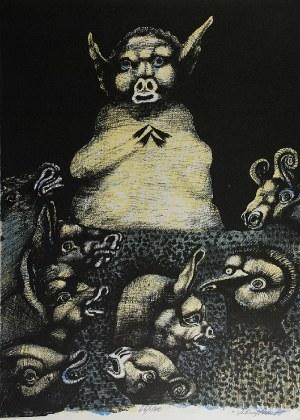 Jan LEBENSTEIN (1930-1999), Z cyklu: Folwark zwierzęcy - Georga Orwella, 1974