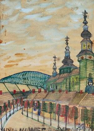 Nikifor KRYNICKI (1895-1968), Motyw z drewnianym kościołem