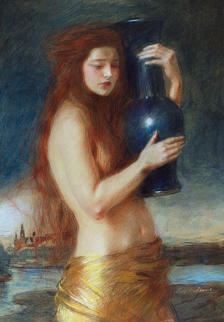 Teodor AXENTOWICZ (1859-1938), Dziewczyna z dzbanem