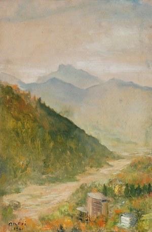 Irena WEISS - ANERI (1888-1981), Pejzaż górski z rzeką, 1961