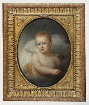 Malarz nieokreślony, polski (?), XIX w., Portret dziecka jako kupidyna