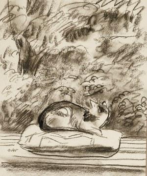 Wojciech WEISS (1875-1950), Kot spoglądający na ogród, l. 30. XX w.