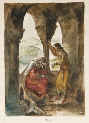 Jan Marcin SZANCER (1902-1973), Scena przy oknie - ilustracja do książki