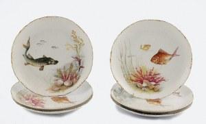 Rosenthal AG, Selb (Bawaria), Sześć talerzy płytkich, z barwną dekoracją rybami i florą podwodną