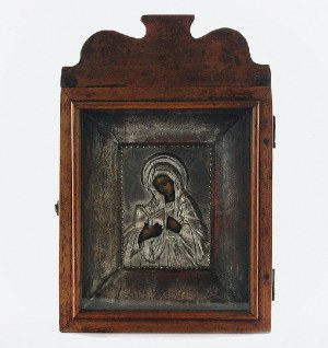 Ikona - Matka Boska w okładzie srebrnym i kiocie