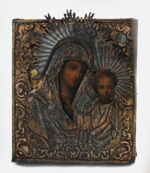 Ikona - Matka Boska Kazańska, w srebrnym okładzie