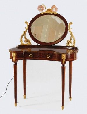 Toaletka w formie nerki z owalnym lustrem, w stylu francuskiego rokoka