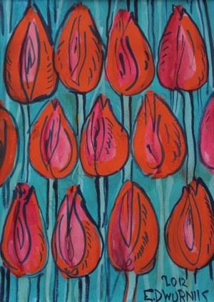 Edward Dwurnik (1943-2018), Czerwone tulipany (2012)