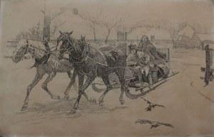 """Stanisław Bohusz-Siestrzeńcewicz (1869-1927), Wyjazd do miasta(wg obrazu Józefa Brandta """"W służbie bożej"""")"""