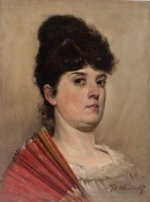 Teodor Chomiński (1858–1904 Nowy York), Portret damy z wachlarzem, k. XIX w.