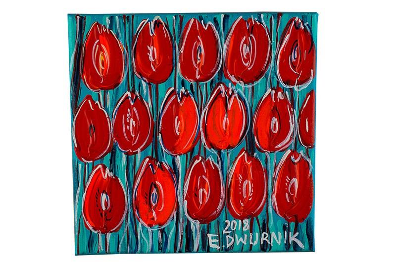 Edward Dwurnik (ur. 1943 Radzymin – 2018 Warszawa), Czerwone tulipany, 2018