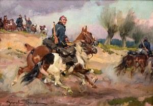 Wojciech Kossak (1856 Paryż – 1942 Kraków) Żołnierz z luzakiem, 1921 r.