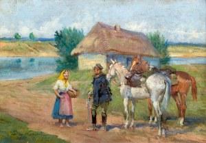 Jerzy Kossak (1886 Kraków – 1955 tamże) Scena rodzajowa z ułanem, 1947 r.