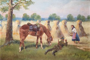 Jerzy Kossak (1886 Kraków – 1955 tamże) Odpoczynek ułana, 1947 r.
