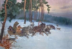 Wojciech Kossak (1856 Paryż – 1942 Kraków) Napad wilków, 1933 r.