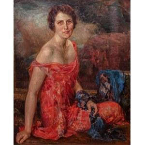 Bolesław Jan Czedekowski (1885 Wojniłów – 1969 Wiedeń) Portret damy w czerwonej sukni, 1925 r.