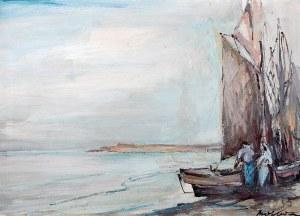 Marian Mokwa (1889 Malary – 1987 Sopot) Kutry rybackie przy brzegu