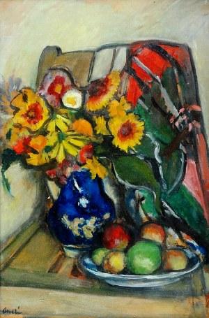 Aneri Irena Weissowa (1888-1981), Martwa natura z kwiatami i owocami, ok. 1950