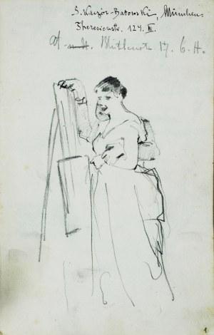 Stanisław Kaczor Batowski (1866-1945), Modelka z malarzem przy sztaludze