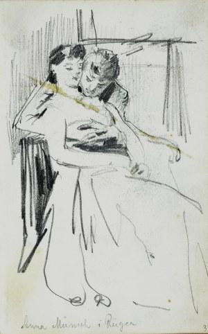 Stanisław Kaczor Batowski (1866-1945), Para w uścisku miłosnym we wnętrzu