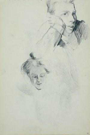 """Włodzimierz Tetmajer (1861 - 1923), Popiersie młodej kobiety oraz fragment głowy dziewczyny z napisem """"Ofiary"""" wpisanym w pięciolinię - szkic, ok. 1900"""