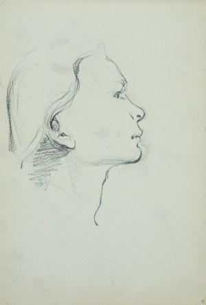 Włodzimierz Tetmajer (1861 - 1923), Szkic głowy młodej kobiety z prawego profilu, ok. 1900