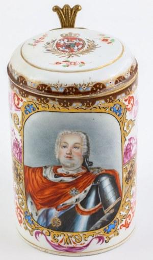 KUFEL Z PORTRETEM KRÓLA AUGUSTA III SASA, Saksonia, Miśnia, 2 poł. XIX w.