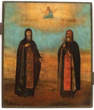 IKONA, ŚWIĘCI MICHAŁ KŁOPSKI I TEODOZJUSZ PIECZERSKI, Rosja, 2 poł. XIX w.