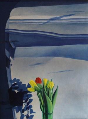 Wojciech Ćwiertniewicz, Niebieskie okno z tulipanami, 1984 r.