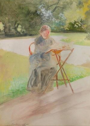 Jacek MALCZEWSKI (1854-1929), Bronisława Malczewska - siostra artysty - w ogrodzie w Lusławicach