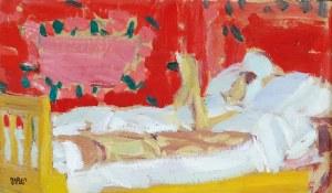 Wojciech WEISS (1875-1950), Renia (żona artysty) czytająca w łóżku