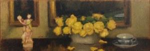 Alfons KARPIŃSKI (1875-1961), Żółte róże, filiżanka i figurka