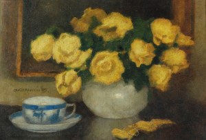 Alfons KARPIŃSKI (1875-1961), Żółte róże i filiżanka