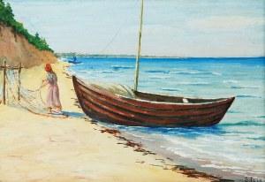 Soter JAXA-MAŁACHOWSKI (1867-1952), Łódź przy brzegu
