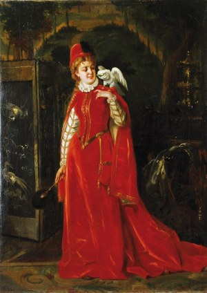 Władysław BAKAŁOWICZ (1833-1903), Dama z papugą