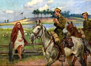 Wojciech Kossak (1856 Paryż - 1942 Kraków), Spotkanie z gęsiarką, 1929