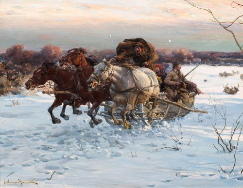 Alfred Wierusz-Kowalski, Napad wilków, ok. 1885-1890