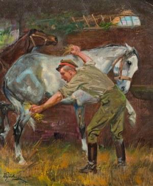 Wojciech Kossak, W stajni, 1936