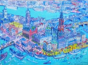 Edward Dwurnik (1943-2018), Sztokholm 2006, 30 x 40 cm