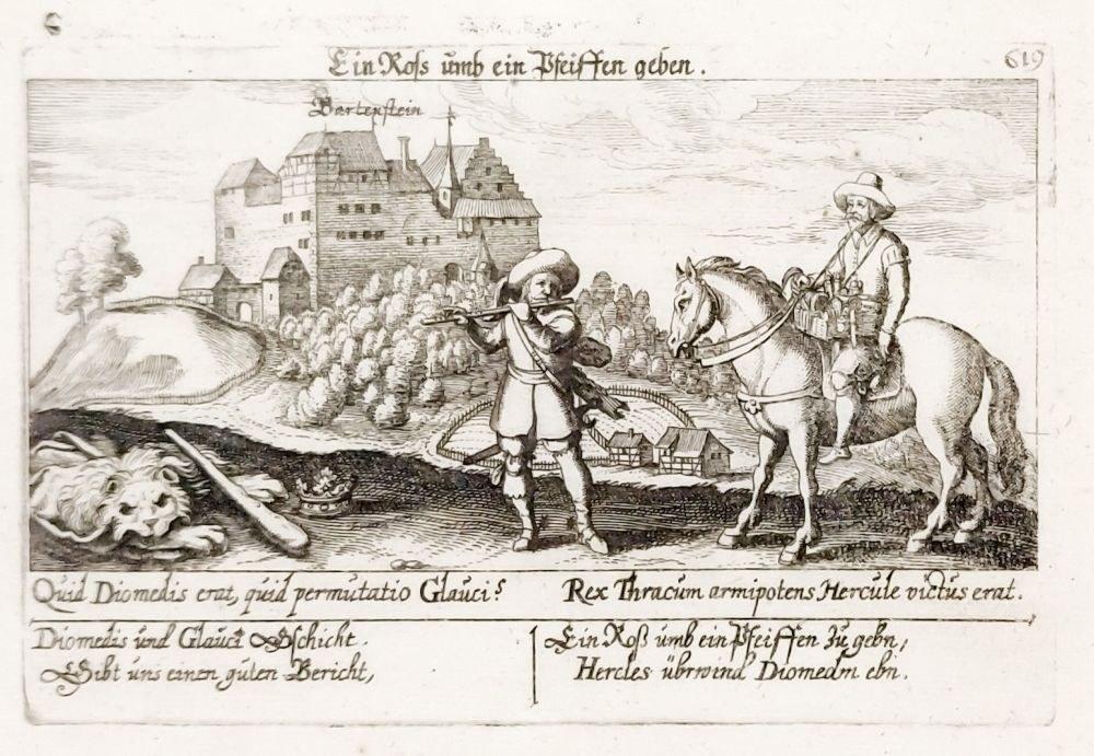BARTOSZYCE. Widok na zamek krzyżacki, pochodzi z: Meissner, Daniel, Thesaurus ...